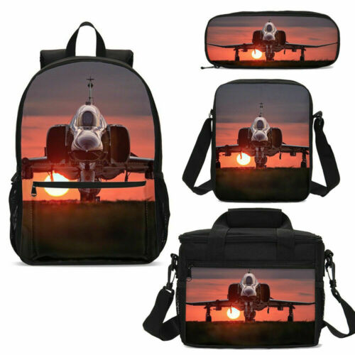 Cool Jet Airplane Kids Backpacks Insulated Lunch Box Shoulder Bags Pen Case Lot