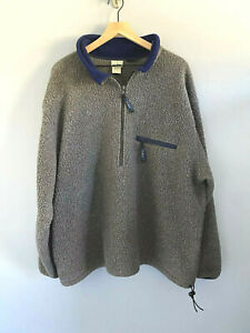 Vintage-Men-039-s-LL-Bean-Polartec-Grey-Long-Fleece-Jacket-1-2-Zip-Pullover-XXL