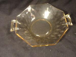 Topaz-Yellow-Depression-Glass-Lot-1-Plate-1-Bowl-Thumbprint-Optic