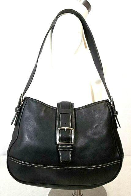COACH Black Leather & Chrome Hampton Flap Over Close Shoulder Bag No. 7583 GUC