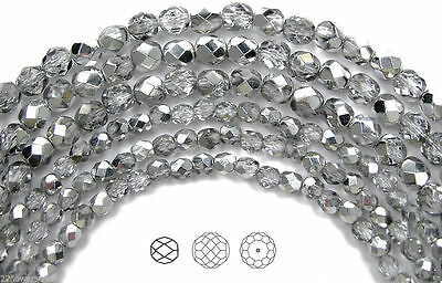 "Czech Fire Polished Round Faceted Beads in Crystal Labrador CAL Half, 16"" strand"