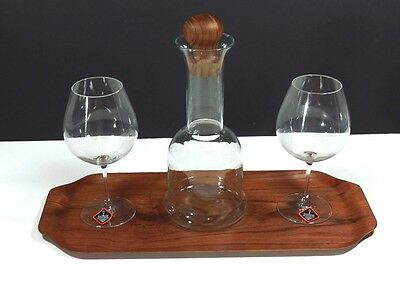 Riedel Wine Glasses Dansk Wine Carafe Wood Tray