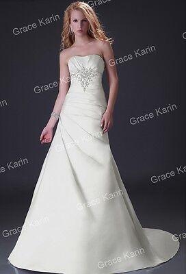 Final CHEAP ~2015 New White Wedding dress Bridal Gown STOCK size 2-4-6-8-10-12 +