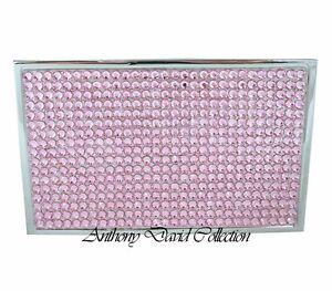Ladies pink crystal silver metal business card case holder w image is loading ladies pink crystal silver metal business card case colourmoves
