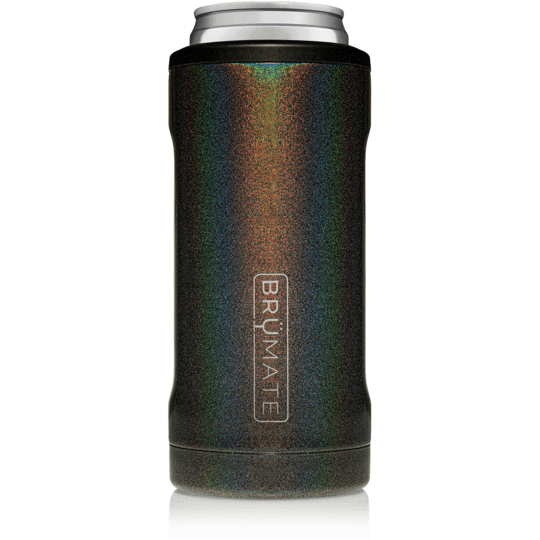 New Brumate Hopsulator Slim Can Insulated Cooler Holder Glitter Charcoal