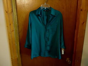 Womens-APT-9-Essentials-034-NWT-034-Size-L-Green-Button-Down-Blouse-With-Pocket-034-BE