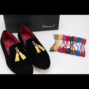 Handmade-FERUCCI-Men-Black-smoking-Velvet-Slippers-loafers-with-removable-Tassel
