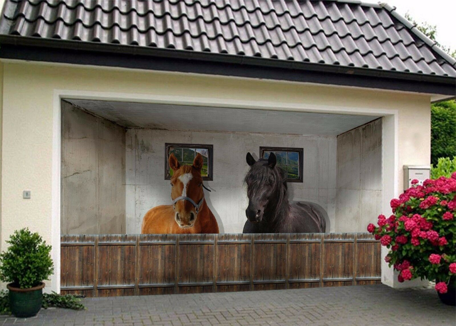 3D Braun Horses Room 4 Garage Door Murals Wall Print Wall AJ WALLPAPER UK Lemon