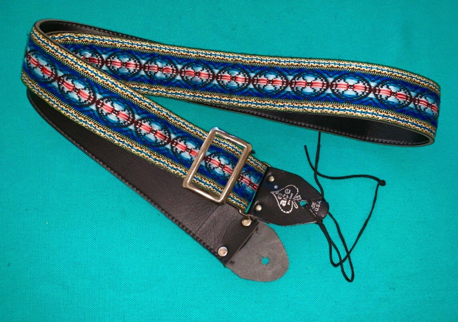 Vtg ACE Gorgeous Pattern Woven Guitar Strap