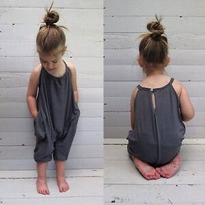fe5de9139 Toddler Kids Baby Girl Summer Strap Romper Jumpsuit Harem Pants ...