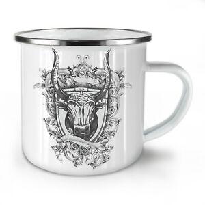 Bull Beast Shield NEW Enamel Tea Mug 10 oz | Wellcoda