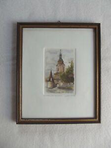 Acquaforte-aquarelliert-Krems a.d. Donau-FIRMATO