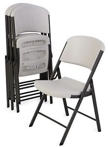 32748babeb870 Image is loading Lifetime-Commercial-Contoured-Folding-Chair -White-or-Almond-