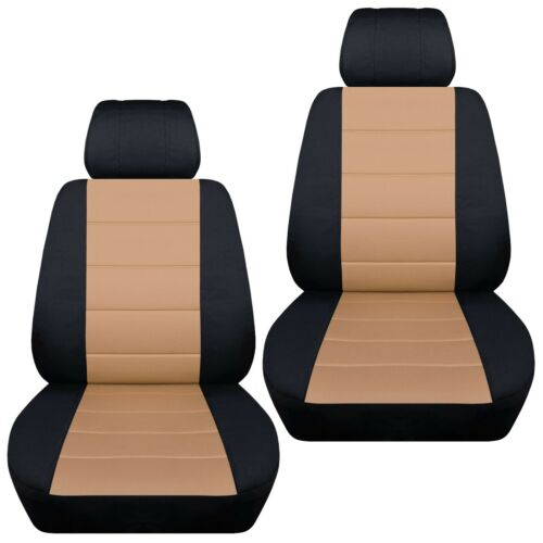 Front set car seat covers fits 2008-2020 Chevy Silverado    black and tan