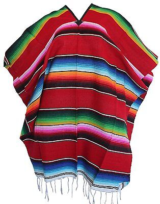 Adulto Colorato Righe Saltillo Serape Fiesta Messicana Poncho Pancho Costume Disabilità Strutturali