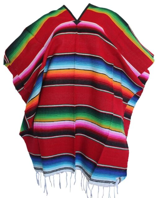 MEXICAN PONCHO ADULT WESTERN COWBOY COSTUME SERAPE BLANKET GABAN SALTILLO FIESTA