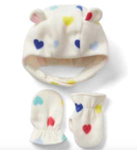 8f55688b15e BABY GAP Pro Fleece heart hat   mitten set NWT 12-18m 6-12m 0-6m n6 ...