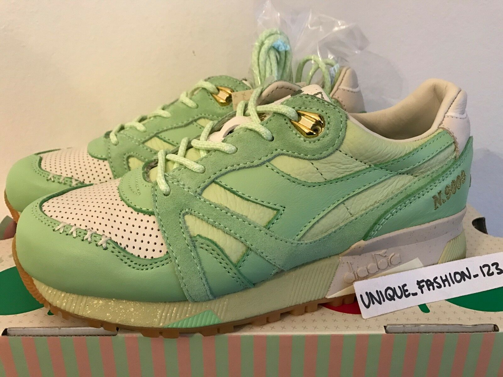 DIADORA DIADORA DIADORA N9000 X FEATURE ICE CREAM US 4.5 UK 4 36.5 LAKE GREEN TITOLO LEATHER 4917d5