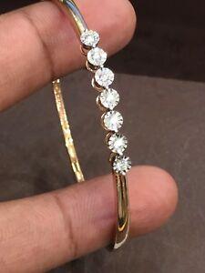 Classy-0-27-Cts-Round-Brilliant-Cut-Natural-Diamonds-Bangle-Bracelet-In-14K-Gold