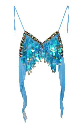 Turquoise Mermaid Fancy Dress Sequin Coachella Crop Top Festival Ibiza 6 8 10 12