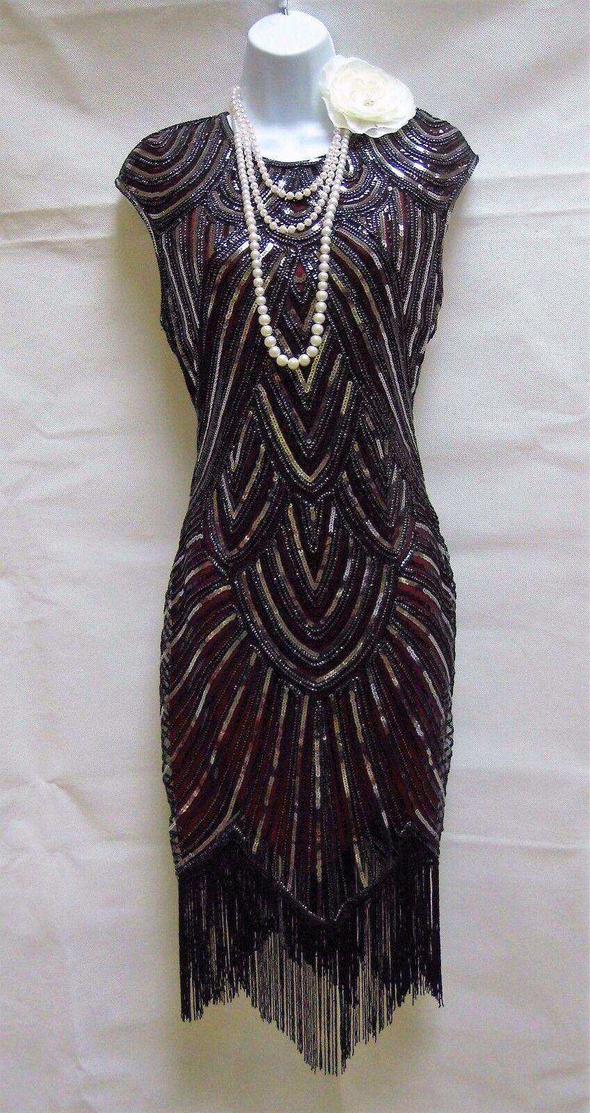 1920's Gatsby VINTAGE CHARLESTON Sequin Tassel anni 1920 20 dress 10 12 14 16 18