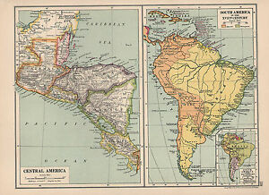 Details about 1930 MAP ~ CENTRAL AMERICA GUATEMALA HONDURAS NICARAGUA ~  SOUTH AMERICA 17thCen