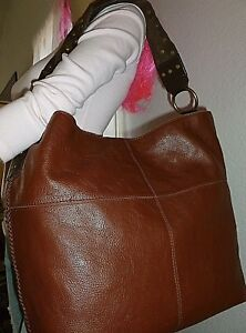 3314d8197575 LUCKY BRAND X Large Brown Leather Super Slouchy Hobo Bag Shoulder ...