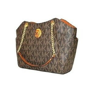 8f43fecda NEW MICHAEL KORS JET SET TRAVEL PVC BROWN,GOLD CHAIN,LARGE SHOULDER ...