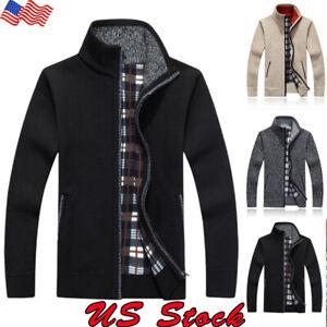 US-Mens-Sweater-Winter-Warm-Thicken-Zipper-Pullover-Sweater-Casual-Knitwear-Coat
