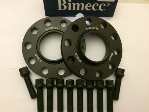 2 X 15mm BIMECC BLACK ALLOY WHEEL SPACERS 10 X M14X1.25 BLACK BOLTS MINI 66.6