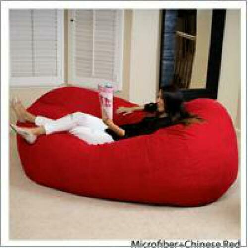 Bean Bag Chair  Big Giant Lounger Adult Red Dorm XL 8ft Sofa Lounge