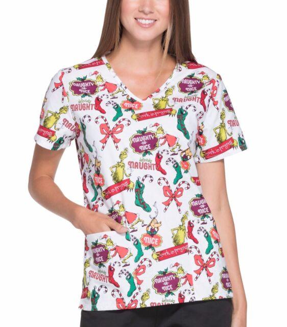 1fbccc978c3 Dr. Seuss NWT How the Grinch Stole Christmas V-Neck Scrub Top XL Uniform