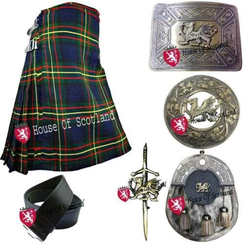 Men/'s Scottish 8 Yards 16oz Kilt Various Tartans Acrylic//Kilts Outfit Set 6pcs