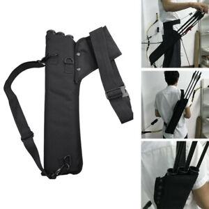 Archery-Faretra-Freccia-3-Tube-Back-Waist-Shoulder-Strap-Bag-Pouch-Hunting-No-G