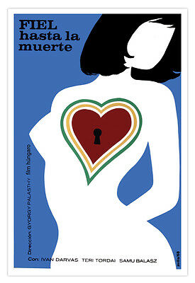 Spanish movie Poster for film FIEL hasta la muerte.Love.Heart locked without Key