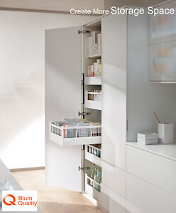 Blum space tower kit 5 x blum drawers in silk white for Kitchen cabinets 500mm depth