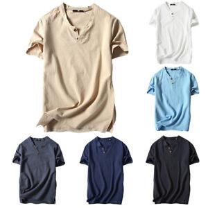 Hombre-Casual-Camiseta-Manga-Corta-Lino-y-Algodon-Verano-Ropa-Sueter-Blusa