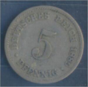 German-Empire-Jagerno-3-1889-J-very-fine-Copper-Nickel-1889-5-Pfennig-7849114