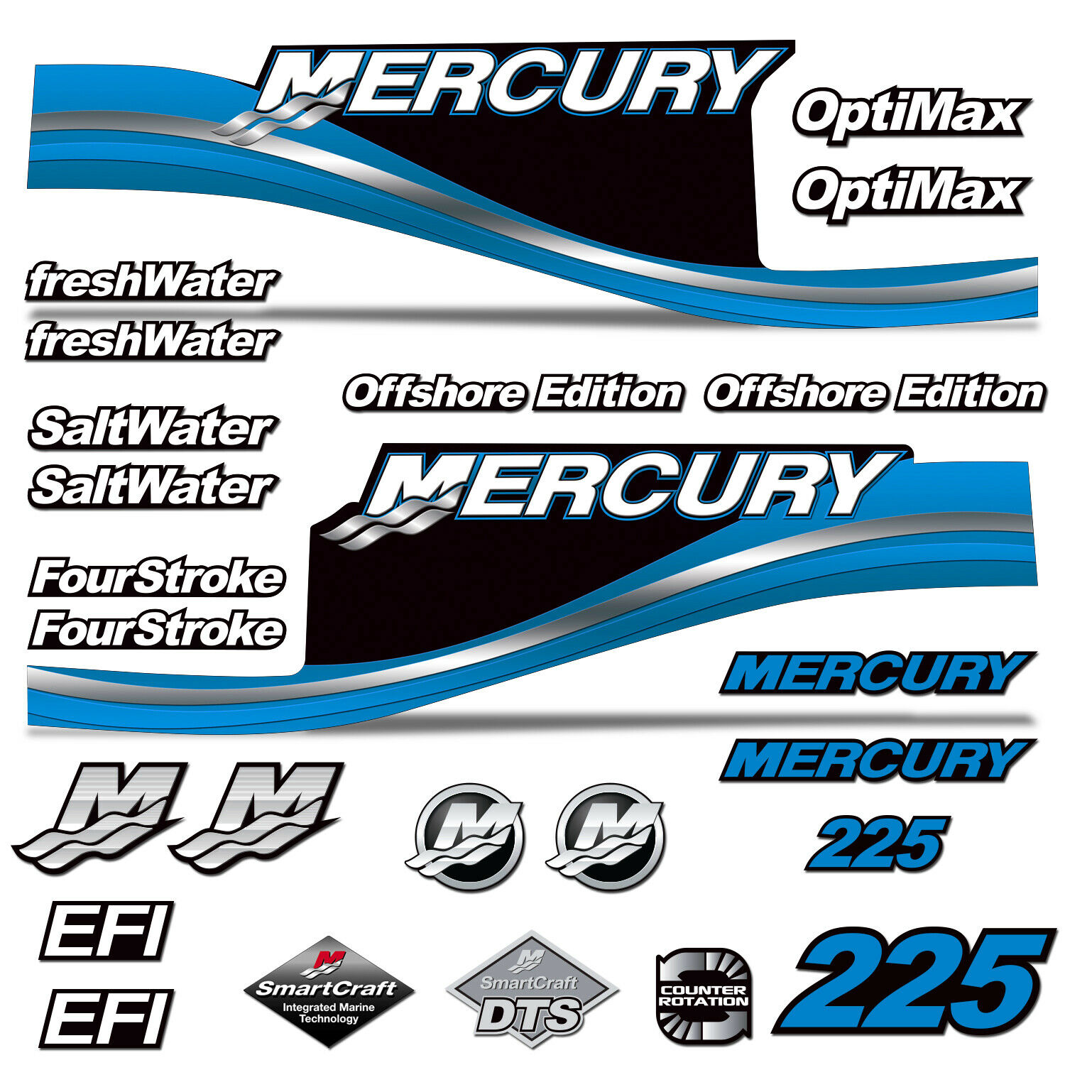 Mercury 225 Four 4  Stroke Decal Kit Outboard Engine Graphic Motor Merc blueE  store