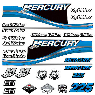 Mercury 225 Four 4 Stroke Decal Kit Outboard Engine Graphic Motor Merc SILVER