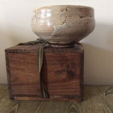 Japanese old Shino ware Tea Bowl hand made Pottery  Signed wooden Box