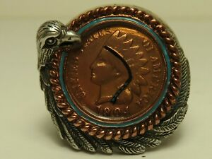 Bradford-Exchange-1904-Indian-Cent-in-Sterling-Silver-Mens-Ring-in-Original-Box