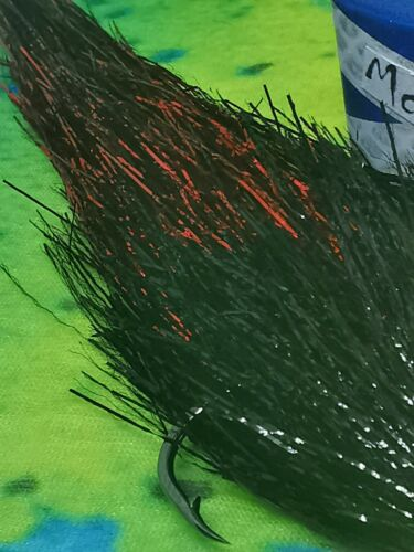 super flash streamer red// black 6//7 inch fly made in scotland Details about  /PIKE FLY