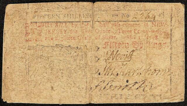 1758 NEW JERSEY COLONIAL CURRENCY 15s NOTE OLD PAPER MONEY NJ-115 Fr BOOK V RARE