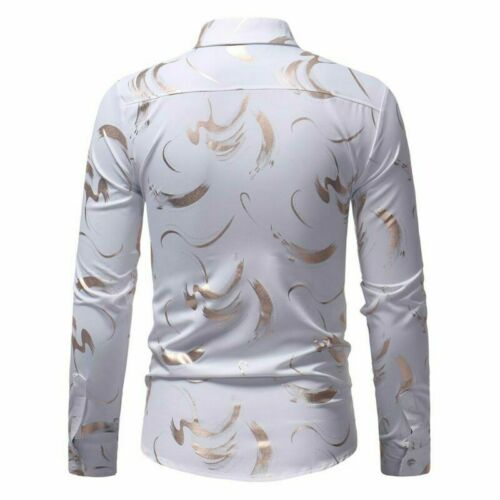 Casual Stylish Top Dress Shirts Slim Fit Mens Luxury Long Sleeve Floral Shirt