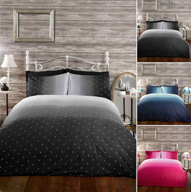 Night Sky Gradient Galaxy & Stars Duvet Quilt Cover Bedding Set + Pillowcases