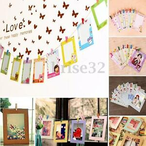 Diy photo paper flim wall picture hanging album stand for Picture frame with clips diy