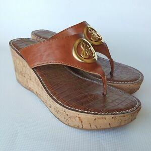 Sam-Edelman-Women-s-RUTH-Platform-Cork-Wedge-Sandals-Thong-Toe-Brown-Size-10M
