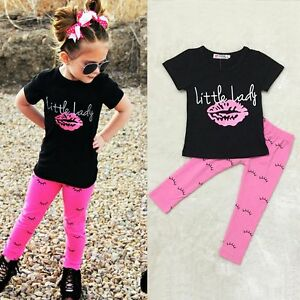 bd0c604cef0 Toddler Kids Baby Girls T-shirt Tops+Long Pants Summer Outfits ...