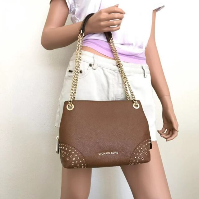 041c48234811 NWT Michael Kors Studded Luggage Leather Jet Set Chain Messenge Crossbody  Bag
